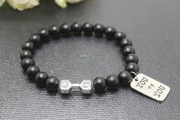 Wholesale New arrival mm mm mm black dull polish Beads with Zinc alloy Dumbbell and antique silver you vs you charm pendant Bracelets