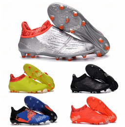 Wholesale 2016 New Soccer Shoes X Purechaos Firm Ground Cleats Football Boots Botas De Futbol High Tops Soccer Cleats FG AG Size