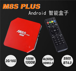 Quad lcd en Ligne-Nouveau M8S Plus Android 5.1.1 TV Box Avec LCD Quad Core Amlogic S905 2G / 16G ROM KODI