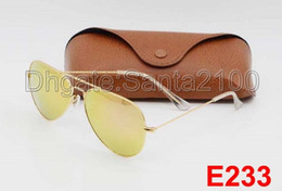 Wholesale 1pcs High Quality Mens Womens Designer Sunglasses Pilot Sun Glasses Gold Frame Colorful Flash Pink Mirror Glass Lenses Better Brown Cases
