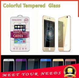 2017 plaque d'écran Iphone 5 6s 6 6plus couleur placage miroir en verre trempé devant coloré et à l'arrière de protection écran téléphone portable un film coloré avec boîte de détail peu coûteux plaque d'écran