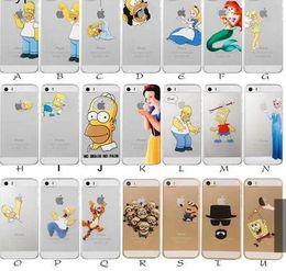 Wholesale Casing Iphone 4s Transparent - Princess Snow White Frozen Elsa Little Mermaid Ariel Semi Simpsons Spiderman Matte Clear Case for iphone 4 4S 5 5S SE 5C 6 4.7 Plus 5.5 case