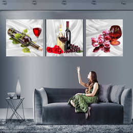 Home decoration unframed 3 Pieces picture free shipping Canvas Prints red wine Grape rose Apple Bamboo Pot mountain waterfall Lotus