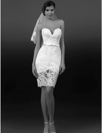 Sexy Design Sheath Mini Wedding Dresses Sweetheart Bow Beaded Lace Short Hot Selling Modern Bridal Gowns Custom Made