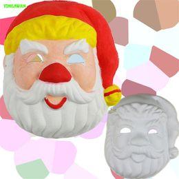 Wholesale 5pcs DIY White Farther Christmas Facial makeup mask for kids handmade Funny toys
