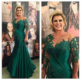 Scoop Chiffon Dark Green Mermaid Mother of the Bride Dresses Long Sleeve Appliques Satin Ruched Plus Size Evening Dresses Brides Gowns