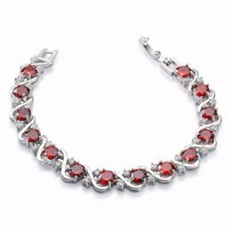 "Rellecona Jewels Ruby Bridal Wedding Bracelets 18k White Gold Plated GP Bracelet 7"" Anniversary Gift Present Free Shipping"