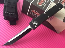 Wholesale Microtech Ultratech D A Tanto Knife CNC D2 steel quot Two tone Plain T6 aluminum handle EDC Tactical knives with nylon sheath