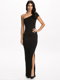 2016 Unique design one shoulder sexy dress party evening elegant black dress floor-length bodycon fitness long dress free shipping