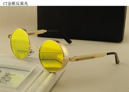 Wholesale-Retro Vintage Metaal Round Sunglasses Steampunk Style With Colorful Mirror Lens Sunglasses 2016 Newest Style Eyewear For Unisex