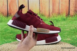 Wholesale With Original Box Adidas NMD Runner PK Running Shoes Men Women Mesh Boost Cheap Sports Shoes Wine Red Size