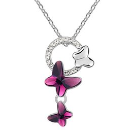 Butterfly Necklaces Pendants Fashion Jewelry For Women High Quality Bijouterie Crystal from Swarovski Elements Necklace Female 6874
