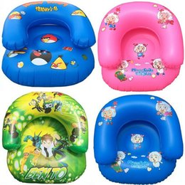 Wholesale Kids PVC Inflatable Sofa Children Playroom Cartoon Couch Chair Seats Inflatable Air Sofa Minnie Angry bird Cartoon Thicken Seat free ship