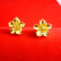 For a long time does not fade gold earrings gold 24K gold plated female models simulation Rose Wedding Jewelry Earrings