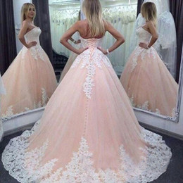 Wholesale 2016 Unique Arabic Wedding Dresses Ball Gown Puffy Blush Tulle Bridal Gowns Lace Appliques Corset Lace up Back Sweep Train Custom Made