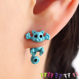 Fashion Kitten Animal Multiple Color Classic Cute Cat Puncture Ear Stud Piercing Earrings Crystal Alloy For Women Girls