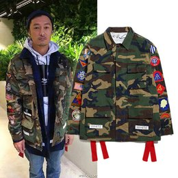 Wholesale Fall Off White Virgil Abloh Kanye West Camouflage Navajo Field Off White Jacket Camo Military Men Jackets Coats High Quality Jackets