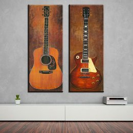 Wholesale 2 piece music studio room guitar top decorative wall paintings for home decor idea oil painting art print on canvas No Framed