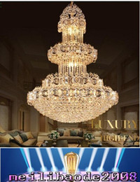Wholesale Luxurious led crystal chandelier large pendant crystal chandeliers light for hotel lobby double floor living room construction project MYY
