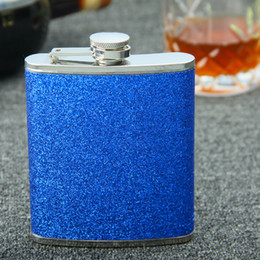Brand new 100% stainless steel Gilttle Leather wrapped 7oz hip flask , color yellow , Blue , Purple ,pink