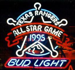 "Bud Light Texas Rangers All Star Game Neon Sign Handmade Custom Real Glass Store Bar Racing Game Room Club Neon Sign 24""X24"""