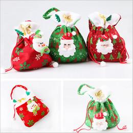 Wholesale Christmas Candy Bags Santa Claus Gift Bags Christmas Tree Xmas Bag Snow Man Sack Stocking Treat Pocket Christmas Decoration Supplies B1071