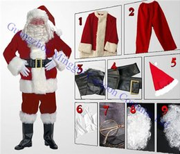Wholesale 2016 New Christmas Santa Claus Costumes Set full body suit Mascot Costume Cosplay with White Beard Christmas Costume Factory salecs