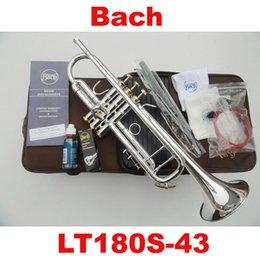 Inventario libre en venta-Wholesale-2015 el nuevo envío libre de la trompeta de Bach 180S-43 pequeñas gotas del pequeño inventario de plata superficie instrumento de latón trompeta Bb