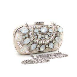 Cristal de la vendimia rebordeó la noche Cluth de lujo nupcial monedero bolso de noche rosa señora fiesta de la noche cluth pesado rebordear cristal Rhinestone bolso desde señoras monederos moldeado fabricantes