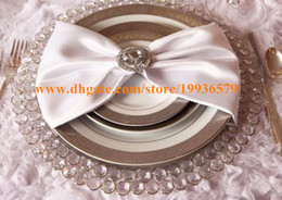 Wholesale cm Round Gold Silver Glass Crytal Beaded Charger Plate Wedding Table Decoration