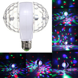 Wholesale 2016 Hot Sale W E27 v v Colorful Auto Rotating RGB Crystal Stage Light Magic double Balls DJ party disco effect Bulb Lamp