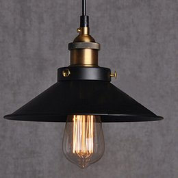 Wholesale Cord Aluminum pendant lights Dia cm copper E27 base black light V or V Edison bulb coffee bar lighting vintage lamps
