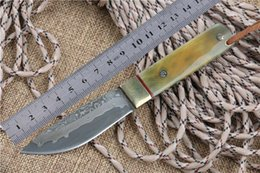 Wholesale Owner Recommed Damascus Straight Knives With Leather Handmade Forged Steel Fixed Blade Damascus Hunting Pocket Camping Knife Damascus Knives