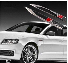 Wholesale For Audi A1 A3 A4L A6L A7 A8 Q3 Q5 Q7 TT SLINE styling car side blade point Fender metal electroplate black