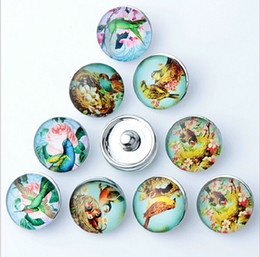 New 18MM Snap Buttons Metal Glass Noosa Chunks 10 Mix Cartoon Bird Style Fit Women Kids Diy Jewelry Charm Button Bracelet