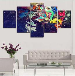 2016 качество панели Абстрактный красочный небо звезды 5 панель большой холст картины для домашнего декоративного вселенских изображений высокого качества без рамки освобождает перевозку груза качество панели продаж