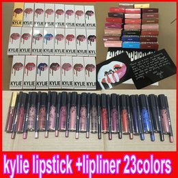 Wholesale Lip Gloss Lipstick Kylie JENNER Kit Eyeliner lipliner pencil liquid lipstick liner matte colors kylie jenner Makeup colors available