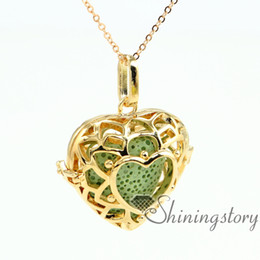 heart openwork essential oil diffuser necklace essential oil necklace wholesale diffuser locket aroma necklace metal volcanic stone