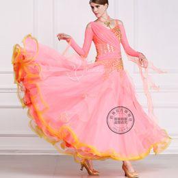 New arrival pink long sleeve customize ballroom Waltz tango salsa Quick step competition dress