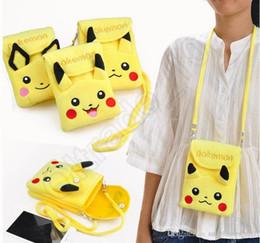 Promotion à double bourse de portefeuille Pikachu Peluche Double-couche Phone Wallet Neck String Sac Messenger Sac Satchel Sac Coin Bag Purse Portefeuille Sacoche OOA836