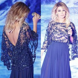 Charming Amazing Bead Sequins Bateau A-Line Long formal Evening Dresses Backless Royal Blue Chiffon Elegant Prom Dress Sexy Celebrity Gowns