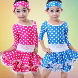 Hot!Girls Latin Dance Dress Kids Children Stage Performance Costumes Long Sleeves Polka Dot Latin Dancing Dress Dancewear UA0171 smileseller