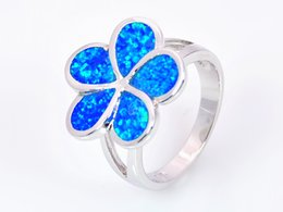 Wholesale & Retail Fashion Fine Blue White Fire Opal Rings 925 Silver Plated Jewelry For Women RAL152503