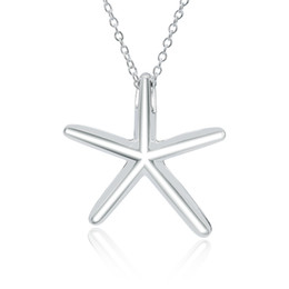 "Wholesale Jewelry Women's Simple Design Starfish Pendant on 18"" Chain Women's Choker in 925 Sterling Silver"