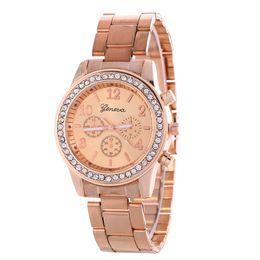 Wholesale women geneva metal steel alloy watch fashion luxury ladies dress quartz diamond Analog gift mens watches 3 colors
