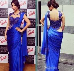 Wholesale Real picture Arabic Indian Women Evening Dresses Sexy Royal Blue Cheap Sheath Applique Sheer Wrap Party Formal Prom Gowns Party Saree