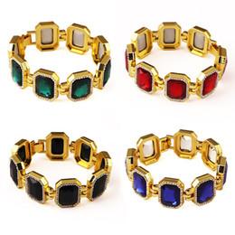 Wholesale Fashion Mens Bracelets Hip Hop Jewelry Insert Artificial Gems Design K Gold Plated Tennis Chains Punk Rock Rap Men