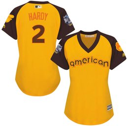 Wholesale 2016 Baseball All Star Baltimore Orioles Womens Adam Jones American Yellow Baseball Jerseys Stitched Name Number and Logos