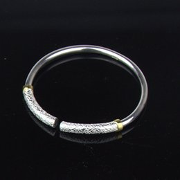 Wholesale 2 Pieces Set Couple Bracelet Purity Silver Bangle with Gold Plated quot the only love quot Silver Bangle Bracelets Best Gift for Lovers