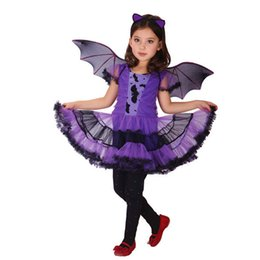Wholesale 2016 Halloween Custome Cosplay Clothing Bat Girl Party Dance Dress Purple Tutu Dress Halloween Clothing Girls Outfit Baby Boutique Clothing